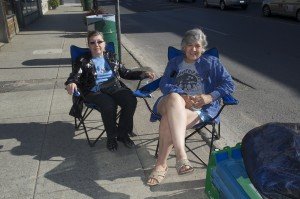 Volunteers Pat (left) and Laura waiting for Yonge Street to be closed off.